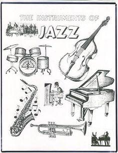 Jazz Band Instruments Black And White