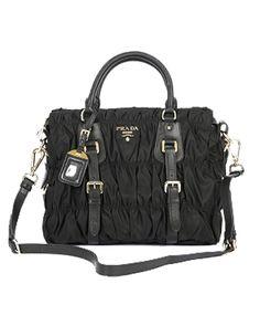 Prada Ruched Tessuto Gauffre Handbag-Black/Gold