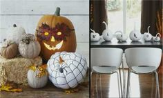 Get five great ideas for using pumpkins to decorate your home. Learn how to make the adorable decorations./ Outdoor Halloween, Cute Halloween, Holidays Halloween, Halloween Crafts, Halloween Stuff, Holiday Crafts, Halloween Ideas, Halloween Yard Decorations, Thanksgiving Decorations