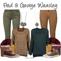 Fred & George Weasley by charlizard on Polyvore featuring polyvore, fashion, style, Plein Sud Jeanius, CIMARRON, Converse, ESPRIT and The Cambridge Satchel Company