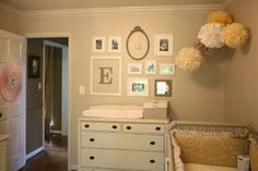 "jenny lind crib & dresser & flower poofs! All my ""girl"" ideas"