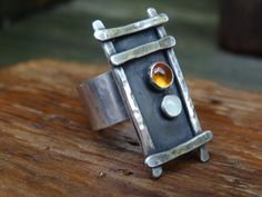 Statement Ring in Sterling silver with Moonstone & Citrine $80.00 by JoDeneMoneuseJewelry