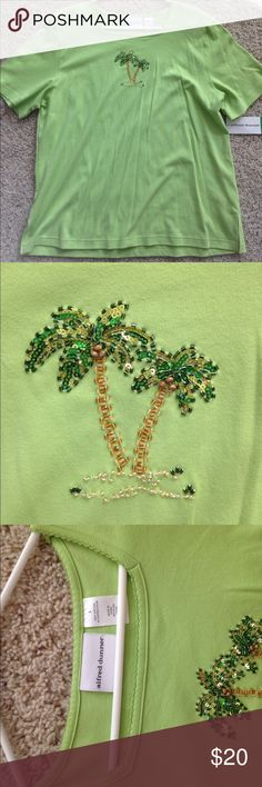 "Alfred Dunner ""Ocean Breeze"" Shirt NWT short sleeve top. Palm tree beading. 100% cotton. Alfred Dunner Tops Tees - Short Sleeve"