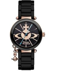 Vivienne Westwood Accessories Kensington Watch (€470) ❤ liked on Polyvore featuring jewelry, watches, black, charm jewelry, stainless steel wrist watch, vivienne westwood watches, vivienne westwood and engraved jewellery