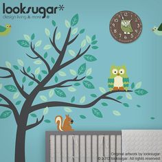 Forest Friends Children Wall Decal - Owl Deer Birds Squirrel - Nursery Wall Decal Baby Wall Stickers - Children Wall Stickers