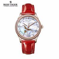 Reef tiger moda relojes de diamantes para las mujeres blanco mop dial miyota automático reloj con correa de piel de becerro rga1550