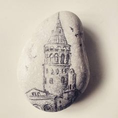 Galata kulesi #galata tower #art #drawing #illustration #rock painting #istanbul #turkey