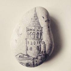 Galata kulesi #galata tower #art #drawing #illustration #rock painting #istanbul #turkey
