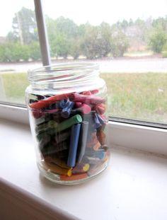 Collect broken crayon pieces, peel paper off of crayons, make crayon hearts.
