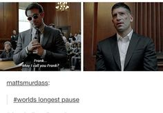 lol :)))) frank is so done <-at the time, I wondered if Frank worked out he was Daredevil.