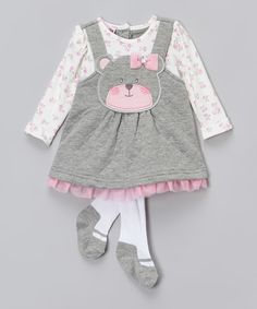 Another great find on #zulily! Gray Bear & Flowers Dress & Tights - Infant by Nannette Baby #zulilyfinds