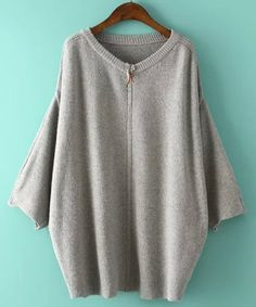 Casual Batwing Sleeve Zipper Design Solid Color Loose-Fitting Cardigan For WomenSweaters & Cardigans | RoseGal.com