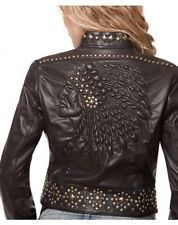 Womens Double D Ranchwear Black Leather Old Indian Face Jacket NWT