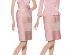 Vestido para madrina modelo 3339   colección 2014 Teresa Ripoll   realizado en ottoman color rosa palo   chaqueta a juego con botones de pedrería