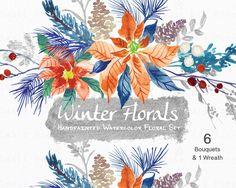 Watercolour Floral Clipart. Handmade, watercolour clipart, winter, flowers - Winter Floral 6 Bouquets & 1 Wreath by SmallHouseBigPony on Etsy