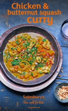 With warming turmeric and lighter coconut milk, this curry is packed with flavour Peanut Curry, Chicken And Butternut Squash, Indian Food Recipes, Ethnic Recipes, Yummy Chicken Recipes, Sainsburys, Easy Dinners, Main Courses, Taste Buds