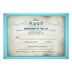 turquoise vintage wedding RSVP cards - tickets  turquoise (light blue) color beautiful vintage typography and swirls design ticket for a wedding RSVP. Any paper looks good with this reply card, but if you want to enhance the vintage look, you should choose a pretty textured linen or felt paper type.