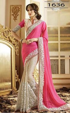 Pink White Embrodired Chinon Lycra Wedding Saree With Blouse Sarees on Shimply.com