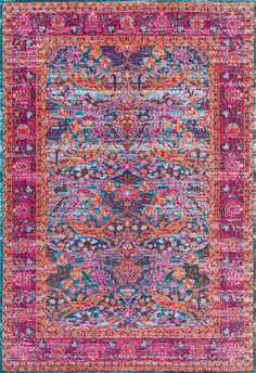 Lots of shades of pink and purple in this Rugs USA Seasoned SW05 Withered Floral Ivies Rug!