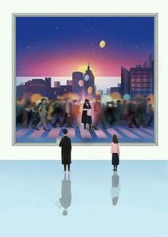 Do you see the past or the future. Family Illustration, Illustration Art, Aesthetic Art, Aesthetic Pictures, Book Cover Background, Cool Pictures, Beautiful Pictures, Cute Couple Art, Couple Drawings