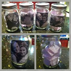 Put pics on outside of jars for caramel corn.