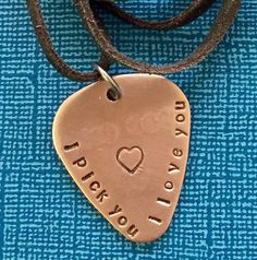 Guitar Pick Necklace  I Pick You  Anniversary Gift  by PickityPick
