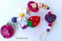 Schnullerkette Erdbeere und Gänseblümchen gehäkelt