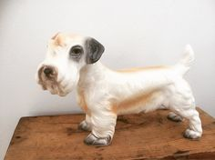 This is an excellent vintage porcelain Sealyham terrier figurine from the It is in perfect vintage condition with no cracks, chips or repairs. This pup has loads of personality and will steal your heart. Vintage Dog, Unique Vintage, Vintage Shops, Sealyham Terrier, Terrier Dogs, Home Goods Decor, My Collection, Doge, Chinoiserie