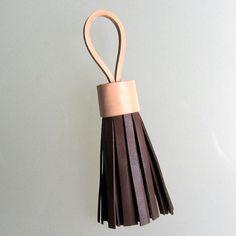 Leather tassel keychain / tassel bag charm / tassel necklace handmade by RinartsAtelier