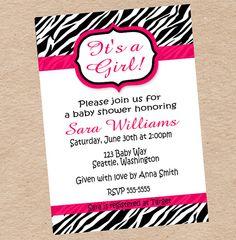 Zebra Print Baby Shower, Birthday, Bridal Shower or Bachelorette Party Invitation DIY Printable by Decorable Designs