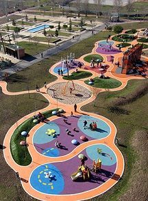 Areas and pathways make the space inviting while giving the right softfall under the equipment. Landscape Design Plans, Landscape Architecture Design, Playground Design, Outdoor Playground, Park Landscape, Urban Landscape, Parque Linear, Sport Park, Parking Design