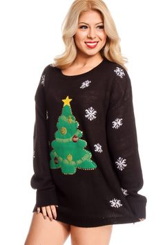 This ugly Christmas sweater features a multi print design, long sleeve, round neckline look, Great for that holiday look, Bust measures about 17 inches. Sweater measures about 26 inches from top to bottom.  60% Cotton 40% Acrylic  Model Info: Height: 5ft 4in | Waist: 24in | Hips: 35in | Chest: 32B Wear Size: Medium