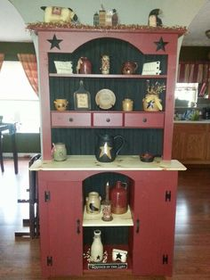 (Barn Red Pine Hutch with stars $399.99) Primitive, Country, & Americana Pine Furniture & decor on Facebook at Another Place In Time and AnotherPlace InTime