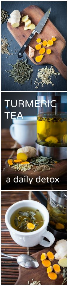 Start off the new year off with this Ayurvedic daily Detox Tea. Revs up the metabolism while it helps to eliminate toxins. #detoxtea #turmerictea