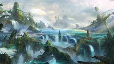 Art fantasy world Mountains rocks waterfall HD Wallpaper