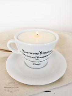 Lumanare parfumata din soia, in ceasca frantuzeasca, un cadou original, pentru cei dragi!