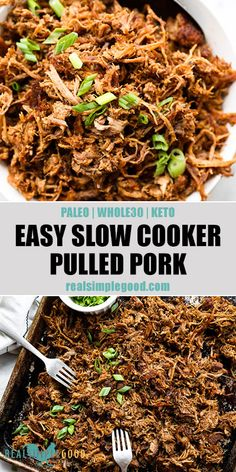 easy slow cooker pulled pork is a healthy recipe made with simple seasonings. 5 minutes of prep for an easy Paleo Keto pulled pork recipe! The best no sauce recipe for meal prep freezing and leftovers. Healthy Pulled Pork, Pulled Pork Recipes, Slow Cooker Pulled Pork Recipe, Slow Cooker Pork Carnitas, Crock Pot Pulled Pork, Pulled Pork Seasoning, Easy Pulled Pork, Slow Cooked Pork, Recipes