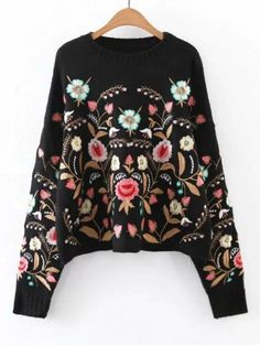 Oversized Floral Embroidered Sweater - BLACK M
