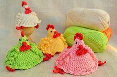 Calentadores de huevo de pollo, acogedor de huevo hechos a mano, decoración de Pascua de ganchillo, ganchillo cubiertas del huevo, huevo pollos acogedor, sombrero pollo