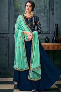 053781fc01 Teal Blue Satin Georgette Zari And Resham Embroidered Anarkali Suit