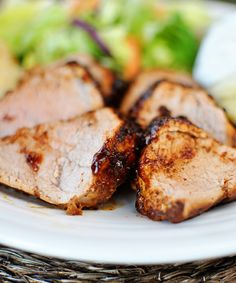 Sweet Spicy Pork Tenderloin. I served this with baked potatoes, biscuits and green salad and it was not only a complete meal, but a completely delicious and filling meal. Long live recipes dedicated to the almighty pork tenderloin! The endless options make me a very happy woman.