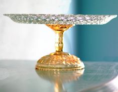 "Gold Cake Stand / 14"" Glass Cake Stand / Cake Platter / Cake Dish / Cake Plate / Golden Peach Weddings"