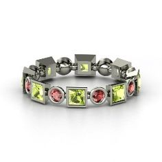 Geometric Band, Sterling Silver Ring with Peridot And garnet!!!!  Another birthstone ring idea with my kids birthstones!!
