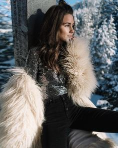 Sequin top, black denim and cream faux fur jacket for NYE in Whistler ❄ Faux Fur Jacket, Fur Coat, Sarah Butler, White Fur, Whistler, Sequin Top, Holiday Outfits, Nye, Black Denim