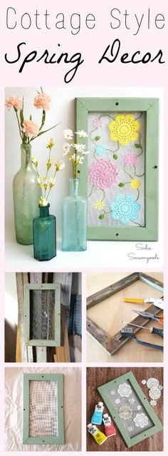 Want some pretty, cottage style Spring decor for your home this season? Stitch some pastel-dyed vintage crocheted doilies to window screen that is attached to a window or picture frame! Embroidered leaves and vines add more whimsy and fun to this sweet repurposed / upcycled DIY craft project! #SadieSeasongoods / www.sadieseasongo...