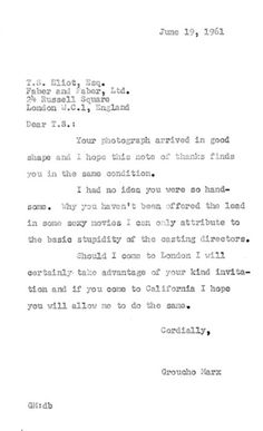 """1961 letter from Groucho Marx to T.S. Eliot """"I had no idea you were so handsome.""""  www.artexperiencenyc.com"""