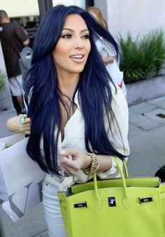 Kim Kardashian. Kim K. Fab. Style. Hair. Beauty. Makeup. Celeb. Layers. Bangs.