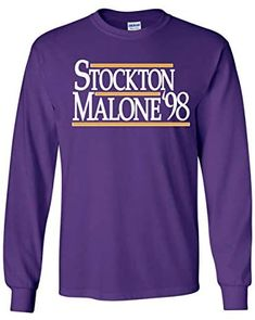 Long Sleeve Purple Utah Stockton Malone T-Shirt John Stockton, Karl Malone, Nba Merchandise, Nba Store, Utah Jazz, Graphic Sweatshirt, T Shirt, Purple, Sweatshirts