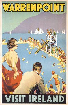 GORGEOUS ORIGINAL 1920/30s Ireland Beach Bath Travel Poster