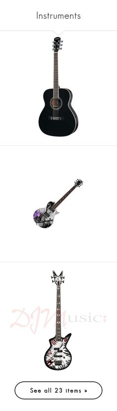 """""""Instruments"""" by horror-hottie ❤ liked on Polyvore featuring instruments, music, backgrounds, fillers, other, band, drums, accessories, guitar and guitars"""